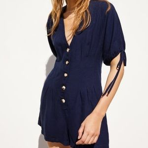 Navy Romper, buttons up the front